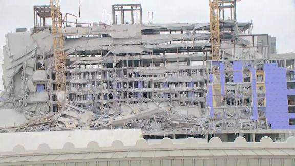 The upper floors of the Hard Rock Hotel collapsed on October 12, 2019.