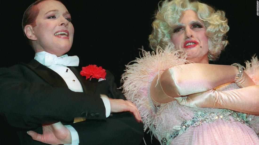 Giuliani, right, is dressed in drag while singing with Julie Andrews at an Inner Circle dinner in March 1997. The annual event is where New York City's journalists satirize city, state and national politics. Giuliani's act was a rebuttal to the Inner Circle's play entitled Citizen Pain.