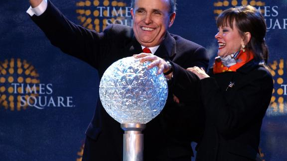 Giuliani and his third wife, Judi, attend New Year's festivities in New York in 2002. Giuliani's second and final term had just ended.