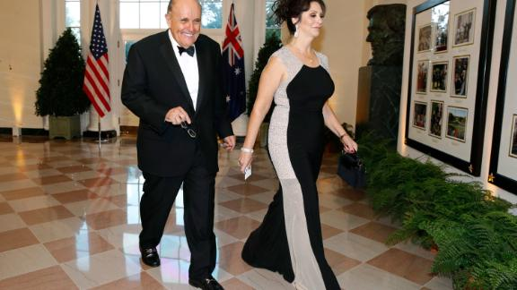 Giuliani and his girlfriend, Maria Ryan, arrive at the White House for a state dinner with Australian Prime Minister Scott Morrison in September 2019.