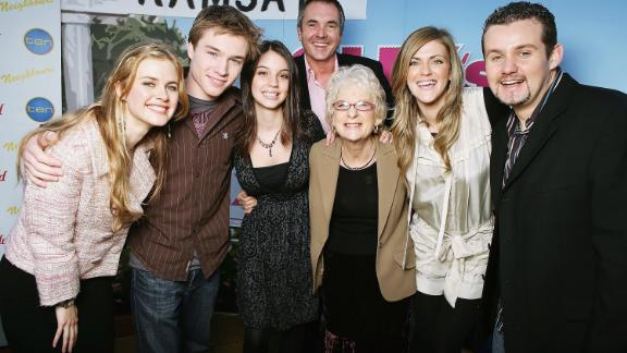 Neighbours actors Tippa Black, Sam Clarke, Adelaide Kane, Alan Fletcher, Casting Director Jan Russ, Dolly Editor Bronwyn McCahon and actor Ryan Maloney pose together in 2006.