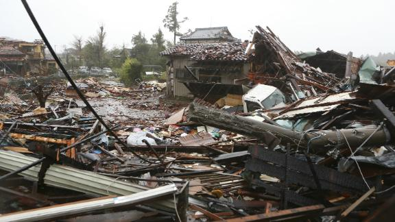 Homes flattened by a suspected tornado brought by Typhoon Hagibis in Ichihara, Japan on October 12.