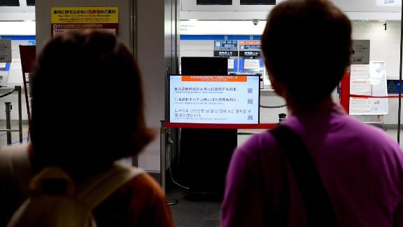 Train service is suspended at Shin-Yokohama station in Yokohama, Japan, on October 12.