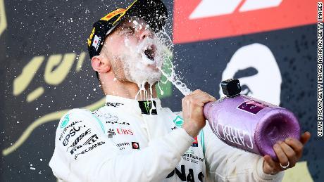 Valtteri Bottas celebrates after winning the Japanese Grand Prix.