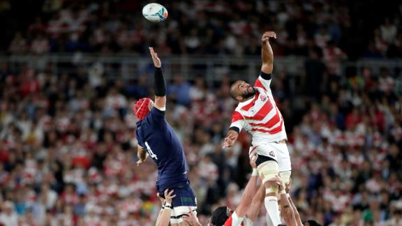 Japan's Michael Leitch misses the lineout ball. Japan will face South Africa in the semi-finals.