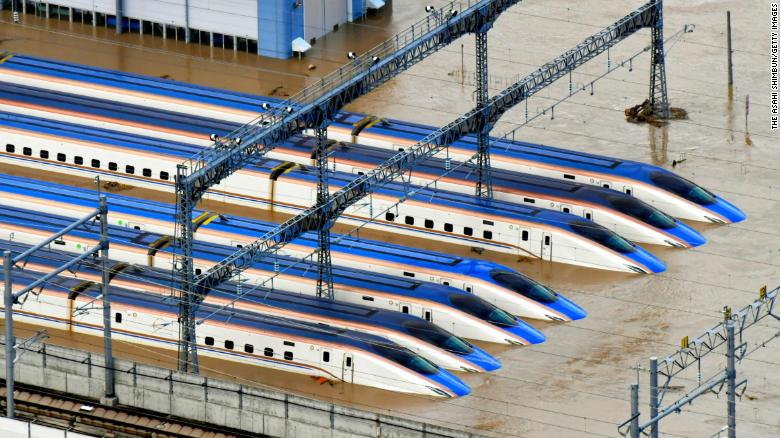 In this aerial image, Hokuriku Shinkansen train depot is submerged after river banks of Chikumagawa River collapse by the rain triggered by Typhoon Hagibis on October 13, 2019 in Nagano, Japan.
