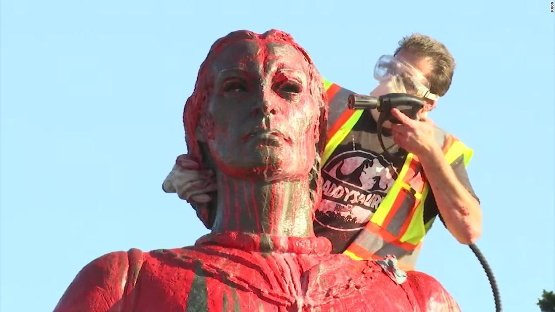 Christopher Columbus statues vandalized in California and Rhode Island