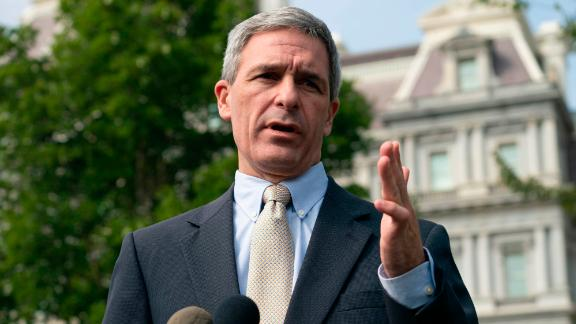 Acting Citizenship and Immigration Services Director Ken Cuccinelli answers questions by the press, some of which was about refugees from the Bahamas in front of the White House in Washington, DC on Tuesday Sept. 10, 2019. (Photo by Ken Cedeno/Sipa USA)(Sipa via AP Images)