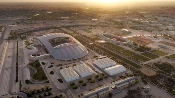 An overhead view of Al Shaqab, which was designed in the shape of a horseshoe.