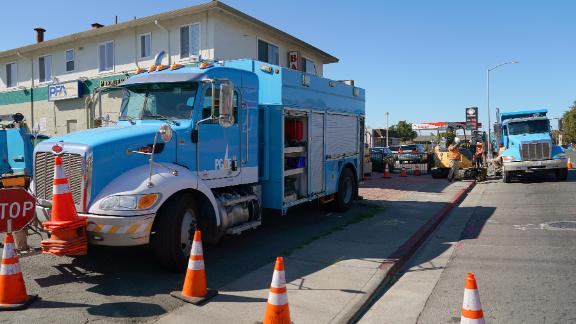 Pacific Gas & Electric crews work in Vallejo, California.