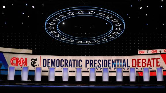 A general view of the debate stage ahead of the Democratic presidential debate co-hosted by CNN and The New York Times in Westerville, Ohio, on Monday, October 14.