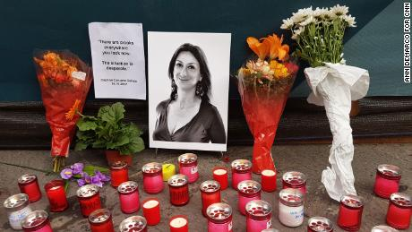 A memorial to journalist Daphne Caruana Galizia, who was killed in a car bombing near her home in 2017.