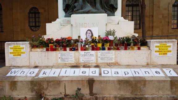The memorial to the investigative journalist Daphne Caruana Galizia in Valletta, Malta.