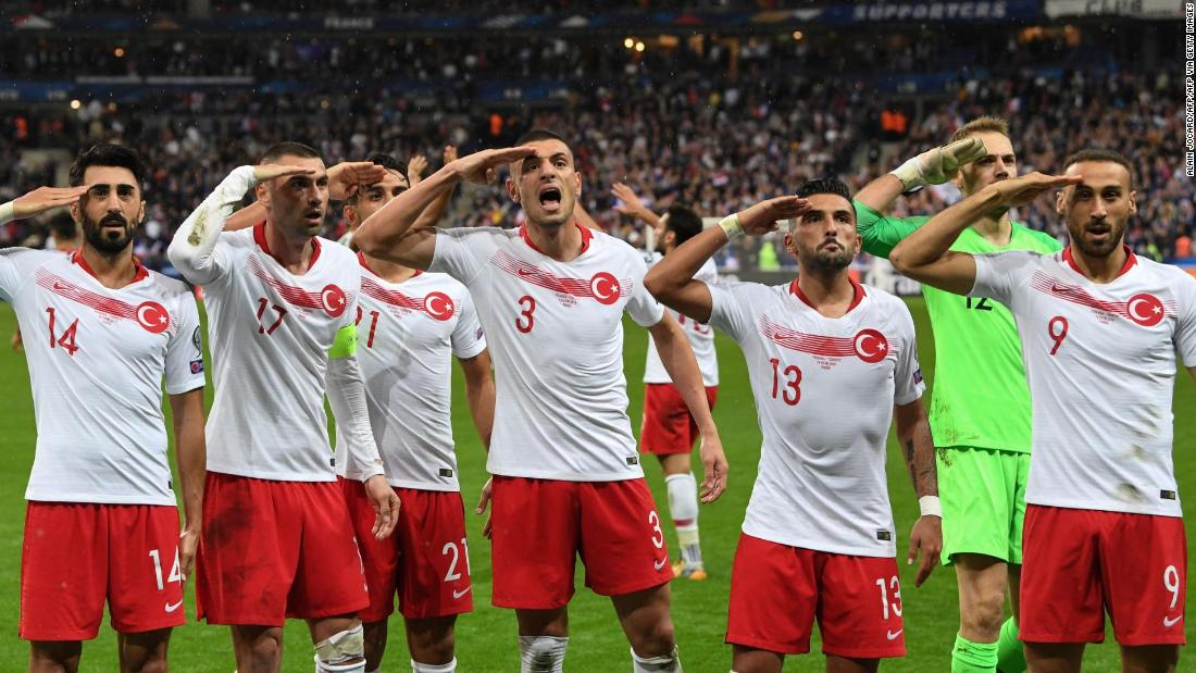 French politicians call for action after Turkish players repeat military salute