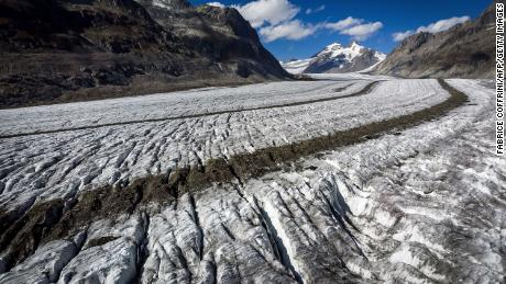 A photo taken on October 1, 2019 shows the Aletsch glacier above Bettmeralp in the Swiss Alps. - The mighty Aletsch -- the largest glacier in the Alps -- could completely disappear by the end of this century if nothing is done to rein in climate change, a study showed on September 12, 2019 by ETH technical university in Zurich.