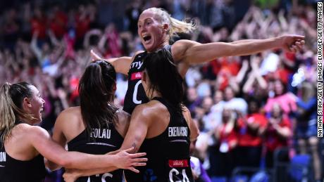 Laura Langman of New Zealand celebrates after the 2019 Netball World Cup final.