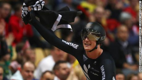 Campbell Stewart of New Zealand celebrates winning the gold medal in the Men's Omnium final at the UCI track cycling World Championships in March.