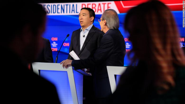 Presidential candidate Andrew Yang during his walk-through before the Democratic presidential debate in Westerville, Ohio, Tuesday, October 15.