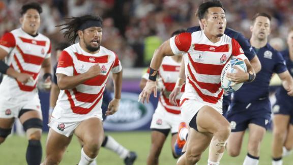 Kenki Fukuoka scores in Japan's victory over Scotland.