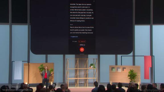A demonstration of Google's new Recorder app, which will come on its new Pixel phone.
