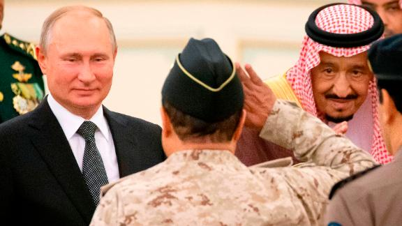 Russian President Vladimir Putin and Saudi Arabia's King Salman attend the official welcome ceremony in Riyadh, Saudi Arabia, on October 14, 2019.