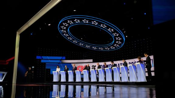 Presidential candidates take the stage in the Democratic debate co-hosted by CNN and The New York Times in Westerville, Ohio, on October 15, 2019.