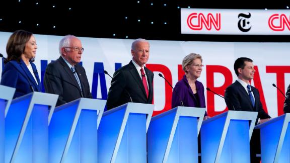 Presidential candidates Kamala Harris, Bernie Sanders, Joe Biden, Elizabeth Warren, and Pete Buttigieg participate in the Democratic debate co-hosted by CNN and The New York Times in Westerville, Ohio, on Tuesday, October 15.