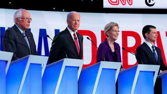 Presidential candidates Bernie Sanders, Joe Biden, Elizabeth Warren and Pete Buttigieg participate in the Democratic debate co-hosted by CNN and The New York Times in Westerville, Ohio, on Tuesday, October 15.