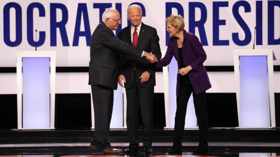 Presidential candidates Bernie Sanders, Joe Biden and Elizabeth Warren participate in the Democratic debate co-hosted by CNN and The New York Times in Westerville, Ohio, on Tuesday, October 15.
