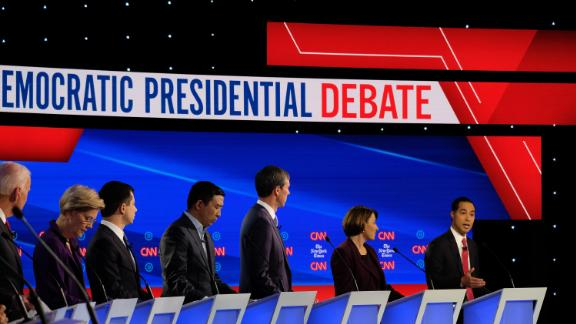 Castro participates in a Democratic debate in Westerville, Ohio, in October 2019.