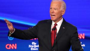WESTERVILLE, OHIO - OCTOBER 15: Former Vice President Joe Biden  during the Democratic Presidential Debate at Otterbein University on October 15, 2019 in Westerville, Ohio. A record 12 presidential hopefuls are participating in the debate hosted by CNN and The New York Times. (Photo by Win McNamee/Getty Images)