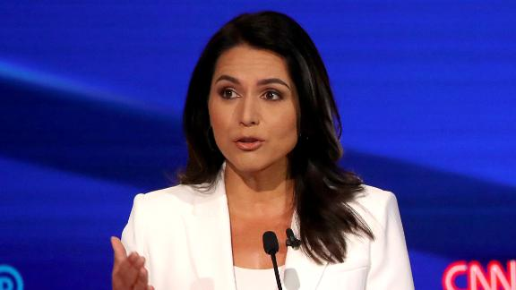 WESTERVILLE, OHIO - OCTOBER 15: Rep. Tulsi Gabbard (D-HI) speaks during the Democratic Presidential Debate at Otterbein University on October 15, 2019 in Westerville, Ohio. A record 12 presidential hopefuls are participating in the debate hosted by CNN and The New York Times. (Photo by Win McNamee/Getty Images)