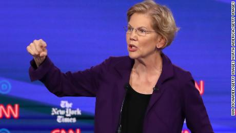 WESTERVILLE, OHIO - OCTOBER 15: Sen. Elizabeth Warren (D-MA) speaks during the Democratic Presidential Debate at Otterbein University on October 15, 2019 in Westerville, Ohio. A record 12 presidential hopefuls are participating in the debate hosted by CNN and The New York Times. (Photo by Win McNamee/Getty Images)