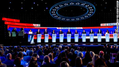 (From L) Democratic presidential hopefuls, Representative for Hawaii Tulsi Gabbard, Billionaire and philanthropist Tom Steyer, New Jersey Senator Cory Booker, California Senator Kamala Harris, Vermont Senator Bernie Sanders, former Vice President Joseph R. Biden Jr., Massachusetts Senator Elizabeth Warren, Mayor of South Bend, Indiana Pete Buttigieg, entrepreneur Andrew Yang, former Representative for Texas Beto O'Rourke, Minnesota Senator Amy Klobuchar, former Secretary of Housing and Urban Development Julian Castro participate of the fourth Democratic primary debate of the 2020 presidential campaign season co-hosted by The New York Times and CNN at Otterbein University in Westerville, Ohio on October 15, 2019. (Photo by SAUL LOEB / AFP) (Photo by SAUL LOEB/AFP via Getty Images)