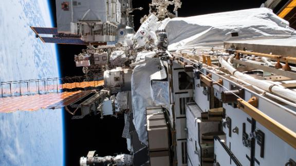 NASA astronaut Christina Koch conducts a spacewalk to upgrade International Space Station power systems. Koch will also take part in the first all-female spacewalk.