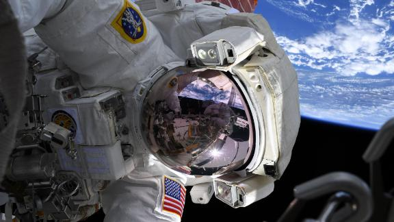"""After completing the first of 10 spacewalks to upgrade the station, astronaut Christina Koch wrote: """"The great @Space_Station battery swap series of spacewalks is underway! A joy & privilege working with @AstroDrewMorgan outside, @astro_luca as the lead for suits & airlock, @Astro_Jessica as robotic arm operator, & the incredible teams in Houston. 3 batteries complete, 9 to go!"""""""