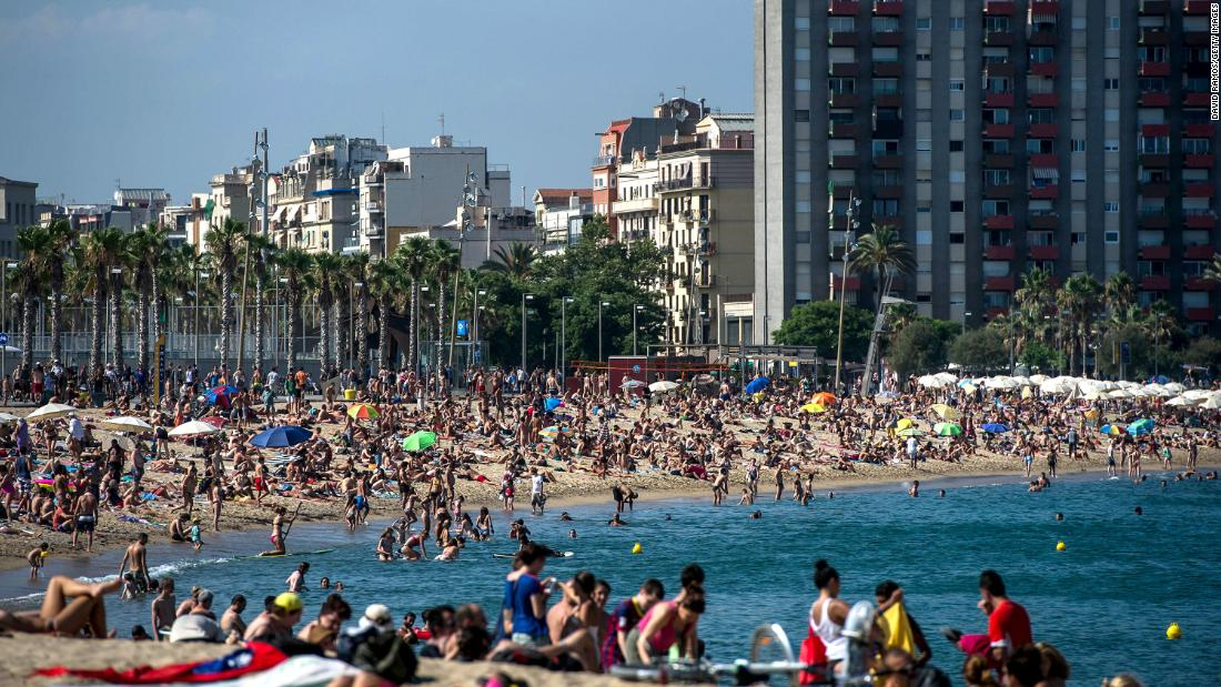 <strong>Barceloneta Beach, Barcelona. </strong>This man-made beach in the heart of Barcelona, Spain, draws millions of visitors each year, but strong storms and rising seas have reduced the size of the beach significantly.