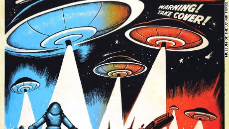 A movie poster from the 1950s shows how Hollywood envisioned UFOs