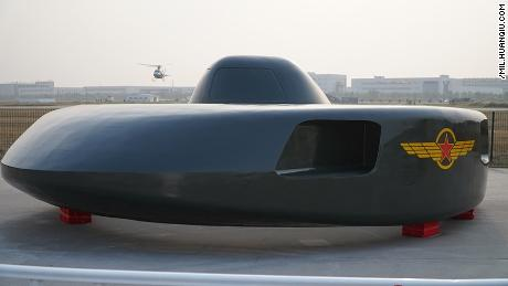 "A static display at Chinese airshow of the ""Super Great White Shark"" stealth helicopter."