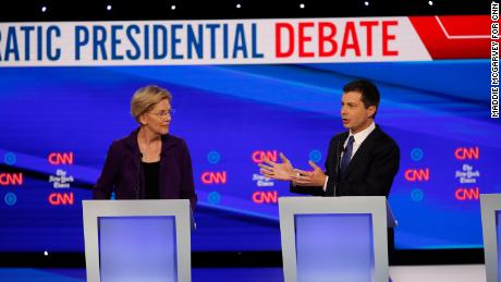 Presidential candidates Elizabeth Warren and Pete Buttigieg participate in the Democratic debate co-hosted by CNN and The New York Times in Westerville, Ohio, on Tuesday, October 15.