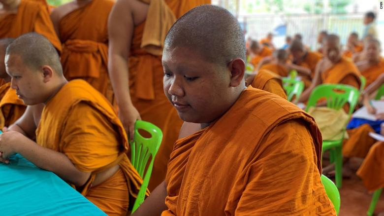 A monk at Wat Yannawa in Bangkok, Thailand.