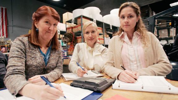 """Kate Flannery, Angela Kinsey and Jenna Fischer on the set of """"The Office in 2007."""
