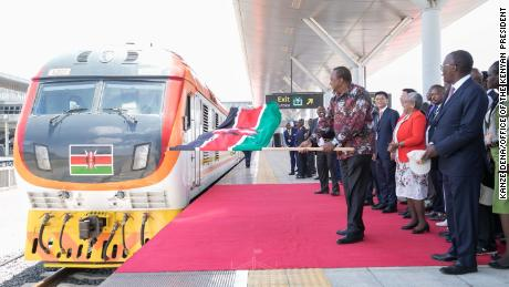 Kenyan President. Uhuru Kenyatta flagging off the second phase of the country's Standard Gauge Railway project