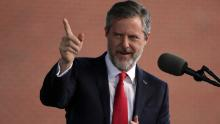 LYNCHBURG, VA - MAY 13:  Jerry Falwell, President of Liberty University, speaks during a commencement at Liberty University May 13, 2017 in Lynchburg, Virginia. President Donald Trump is the first sitting president to speak at Liberty's commencement since George H.W. Bush spoke in 1990.  (Photo by Alex Wong/Getty Images)
