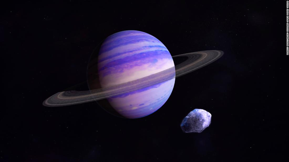 This is an artist's illustration of a Neptune-type exoplanet in the icy outer reaches of its star system. It could look something like a large, newly discovered gas giant that takes about 20 years to orbit a star 11 light years away from Earth.
