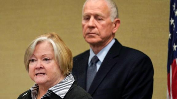 In this October 2018, file photo, Judy Shepard, left, and her husband Dennis Shepard, right, speak at a law enforcement roundtable on improving the identification and reporting of hate crimes at Department of Justice in Washington.