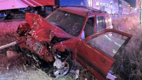 The Utah Highway Patrol published pictures of what the car looked like when it was hit.
