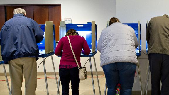 Voters cast ballots at a polling station in Wauwatosa, Wisconsin, on Tuesday, Nov. 6, 2018.