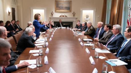 "Trump tweeted this White House photo showing Nancy Pelosi pointing at him saying "" Nervous Nancy's unhinged meltdown!"" as an insult to the Speaker.  Pelosi later made the image her cover photo on Twitter."