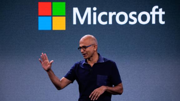 Satya Nadella, chief executive officer of Microsoft Corp., speaks during a Microsoft product event in New York, U.S., on Wednesday, Oct. 2, 2019. Microsoft unveiled adual-screen, foldable phone that will run on Google